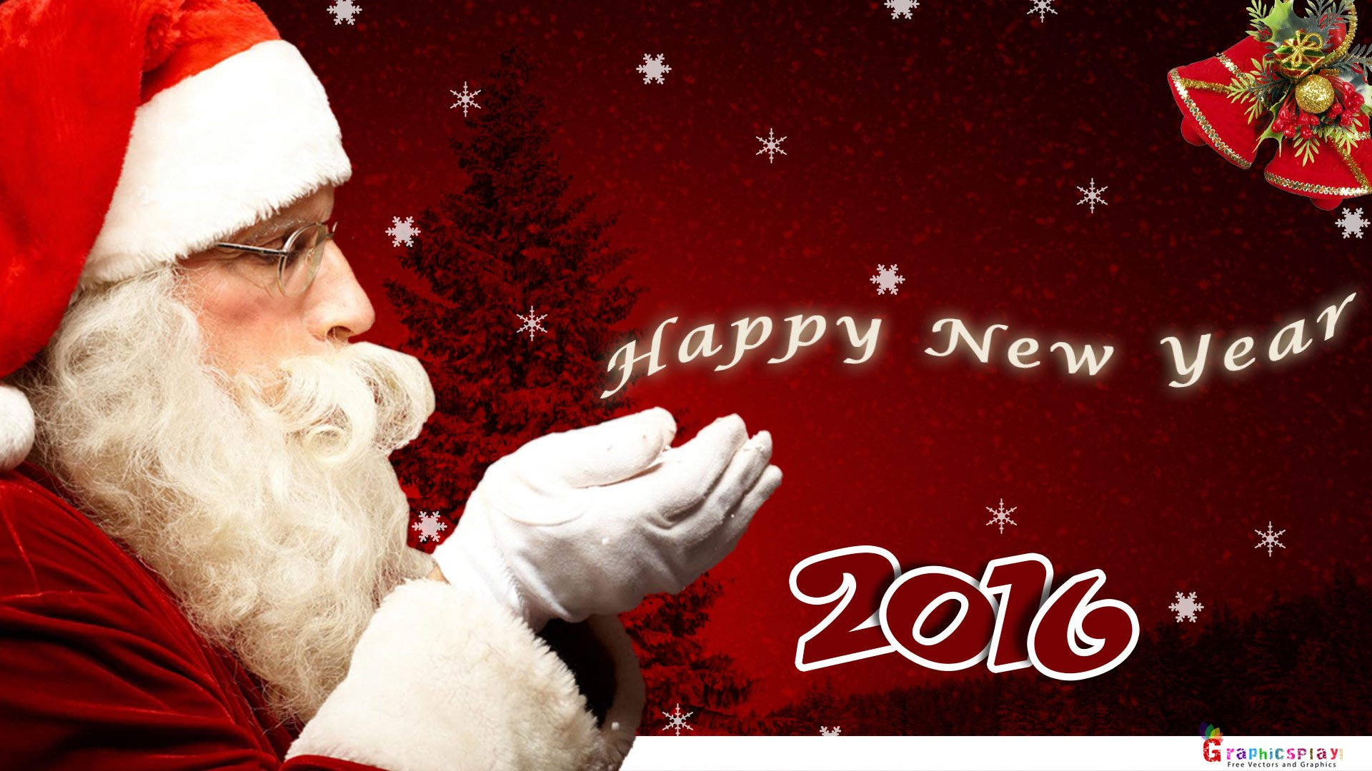 New Year Greeting with Santa JPG and PSD 2