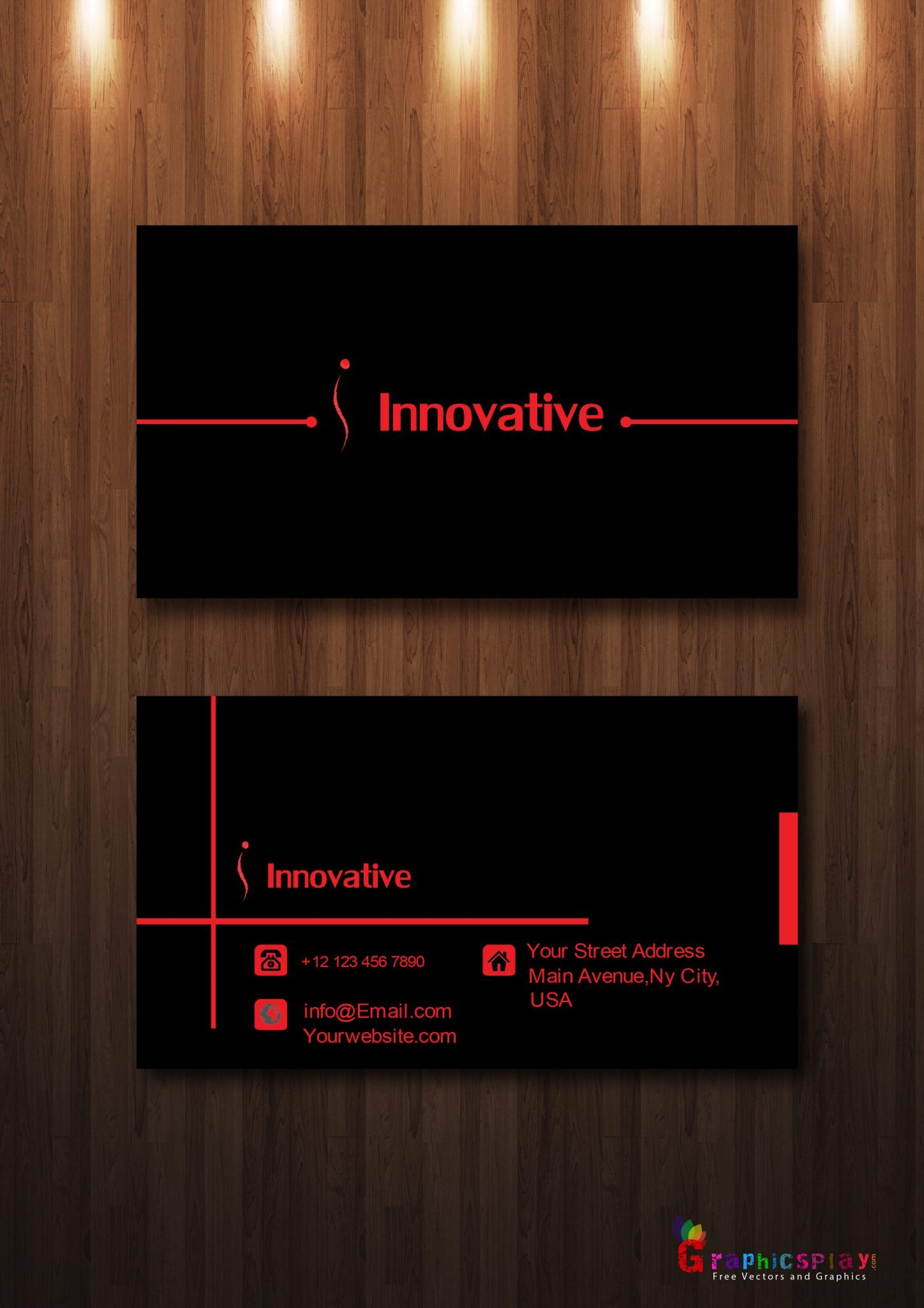 Simple Business Card With Red and Black Combination Vector 2