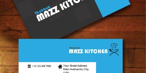 Black and Blue Business Card Vector for Food and Catering 5