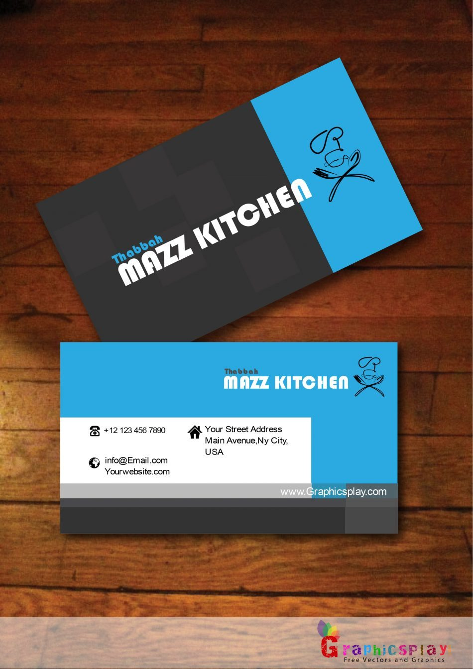 Black and Blue Business Card Vector for Food and Catering - GraphicsPlay