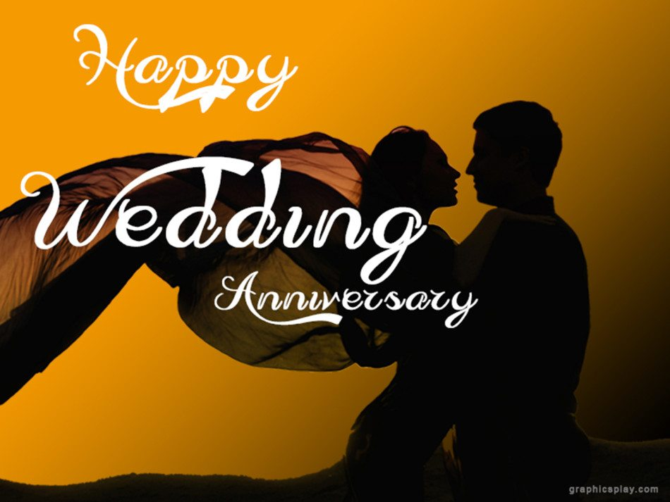Happy wedding anniversary greeting with couple graphicsplay