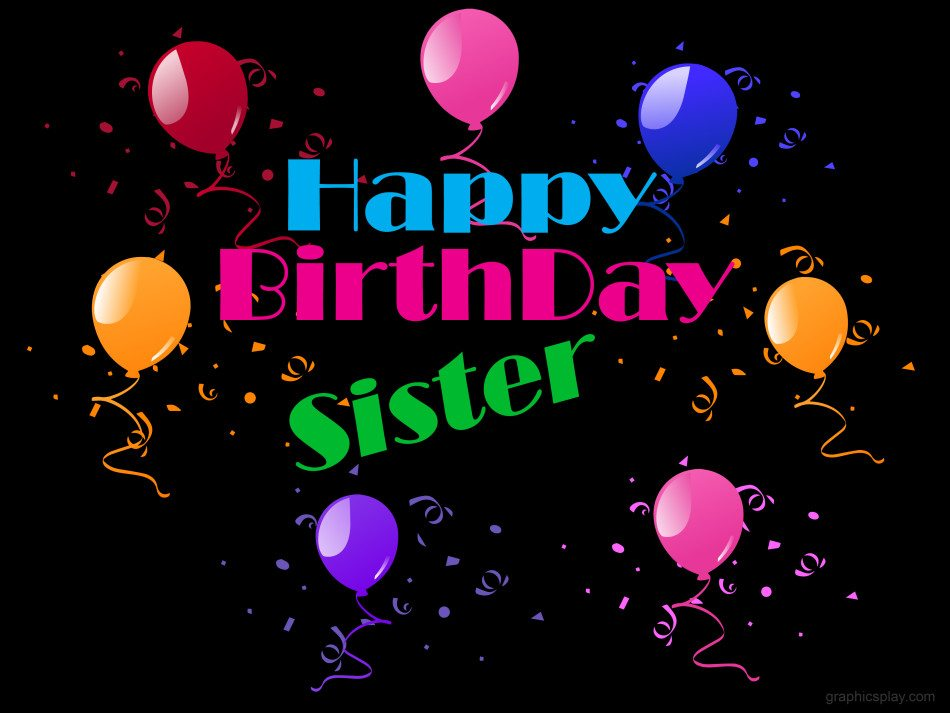 Happy Birthday Balloons With Names ~ Happy birthday sister beautiful greeting graphicsplay